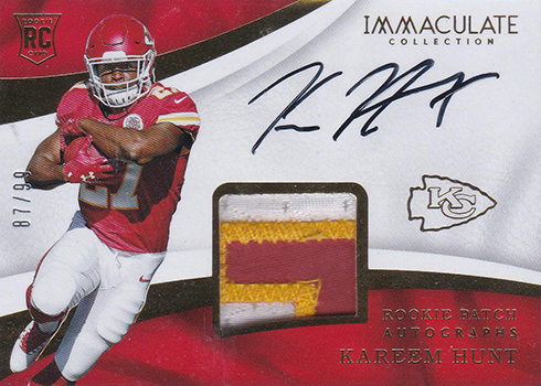 2017 Immaculate Collection Kareem Hunt Rookie Card