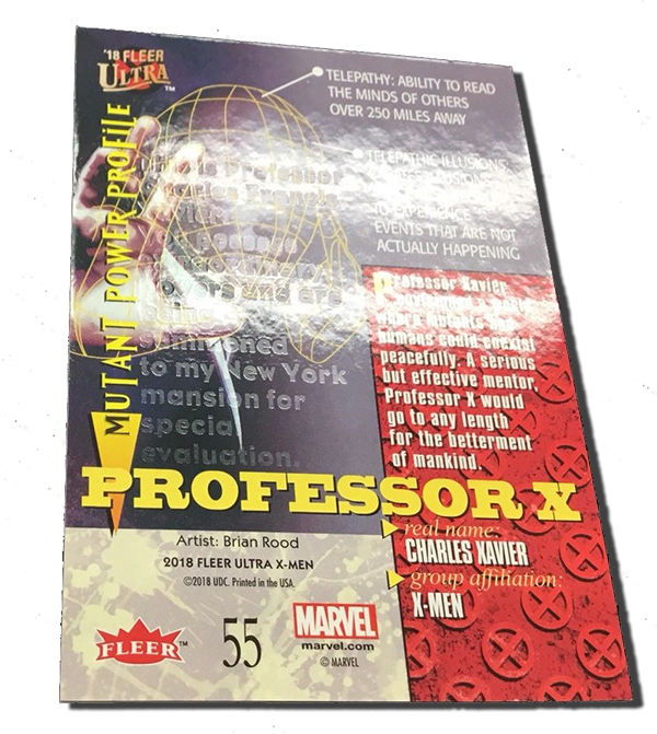 2018 Fleer Ultra X-Men Hidden Message 55 Professor X