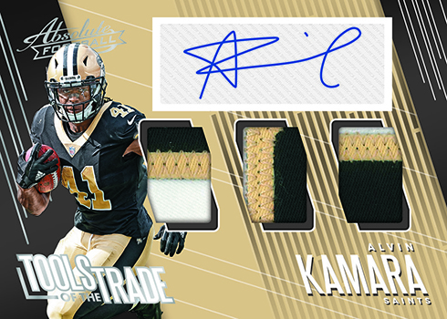 f42085a27e1 The pigskin takes up nearly the entire front of the card. Platinum  parallels are one-of-ones. 2018 Panini Absolute Football Jumbo NFL Shields