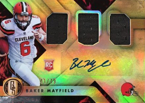 2018 Panini Gold Standard Football Baker Mayfield Auto Triple Jersey