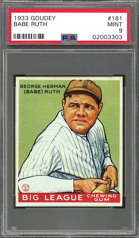 1933 Goudey Babe Ruth PSA 9 Goldin Aug-2018 450