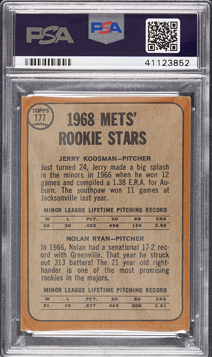 Highest Grade 1968 Topps Venezuelan Nolan Ryan Rookie Card