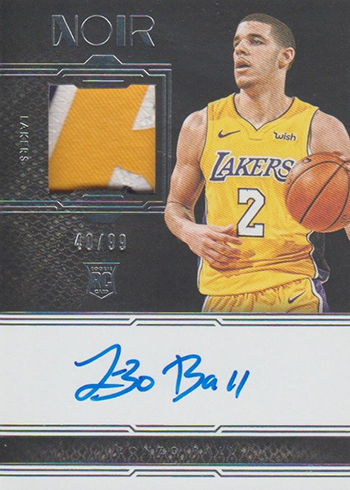 2017-18 Panini Noir Basketball Base Rookie Patch Autographs Color Lonzo Ball