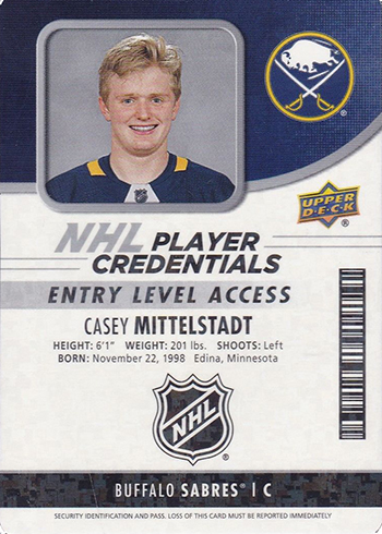 2018-19 Upper Deck MVP Hockey NHL Player Credentials Entry Level