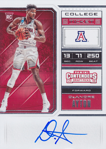 2018 Panini Contenders Draft Picks Basketball RPS Ticket Autograph DeAndre Ayton