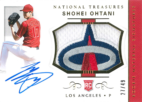 2018 Panini National Treasures Baseball Rookie Materials Signatures Gold Shohei Ohtani