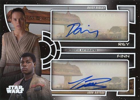 2018 Topps Star Wars Galactic Files Dual Autographs Daisy Ridley John Boyega