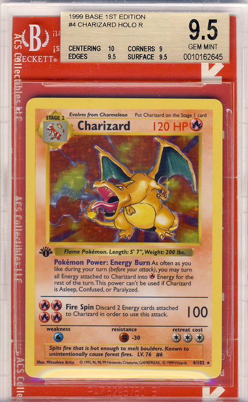 Pokemon 1st Edition Charizard Shadowless Holo Sells for $18,000