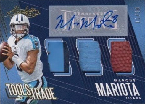 2018 Panini Absolute Football Tools of the Trade Triple Autographs Marcus Mariota