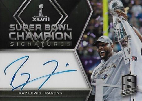 2018 Panini Spectra Football Super Bowl Signatures Ray Lewis