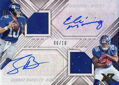 2018 Panini Xr Football Dual Autograph Swatches Eli Manning Saquon Barkley