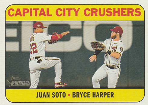 2018 Topps Heritage High Number Baseball Combo Cards Juan Soto Bryce Harper