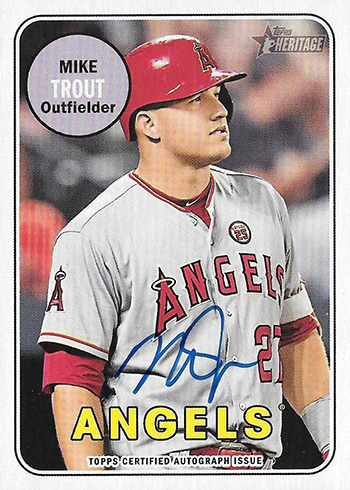 2018 Topps Heritage High Number Baseball Real One Autographs Mike Trout