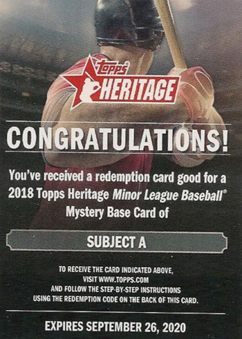 2018 Topps Heritage Minors Base Card Mystery Redemption