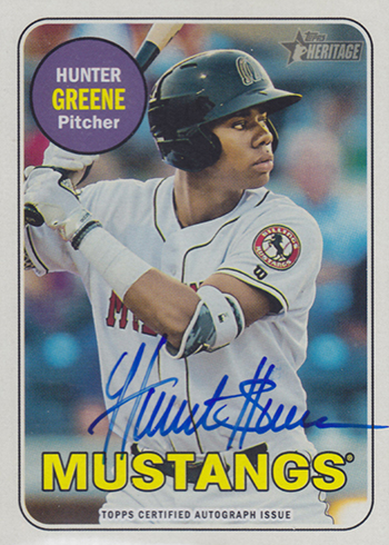 2018 Topps Heritage Minors Image Variation Autographs Hunter Greene