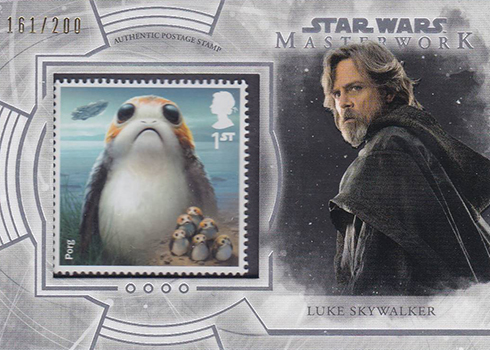 2018 Topps Star Wars Masterwork Stamp Card Luke Skywalker Porg