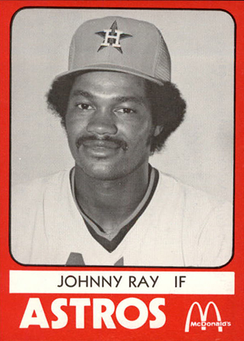 1980 Columbus Astros TCMA Johnny Ray