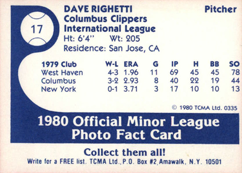 1980 Columbus Clippers TCMA Dave Righetti Reverse