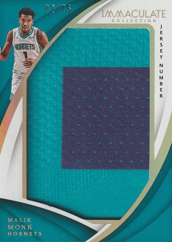 2017-18 Panini Immaculate Basketball Jumbo Patch Jersey Number Malik Monk