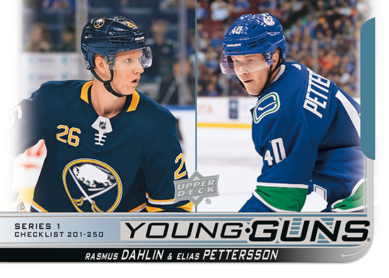 2018-19 Upper Deck Young Guns Rasmus Dahlin Elias Petterson Checklist