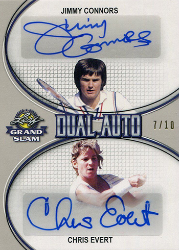 2018 Leaf Grand Slam Tennis Dual Autographs Jimmy Connors Chris Evert Silver