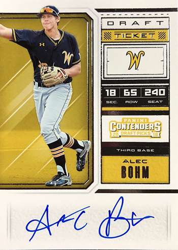 2018 Panini Contenders Draft Picks Baseball Alec Bohm Autograph