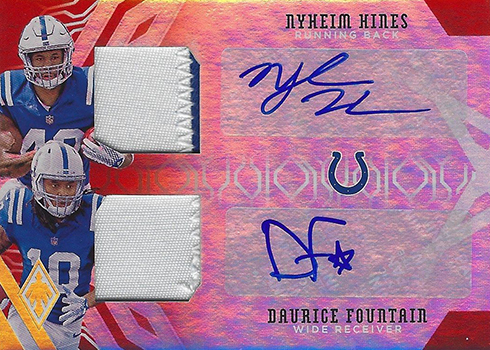 2018 Panini Phoenix Football Dual Patch Autographs Nyheim Hines Daurice Fountain