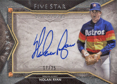 2018 Topps Five Star Baseball Five Star Signatures Nolan Ryan