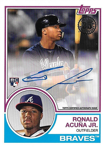 2018 Topps Update Series Baseball 1983 Topps Autographs Ronald Acuna Jr