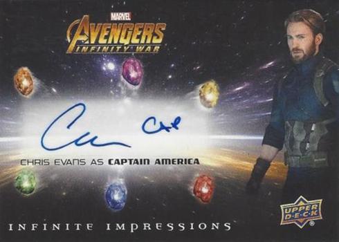 2018 Upper Deck Avengers Infinity War Chris Evans Inscribed Autograph