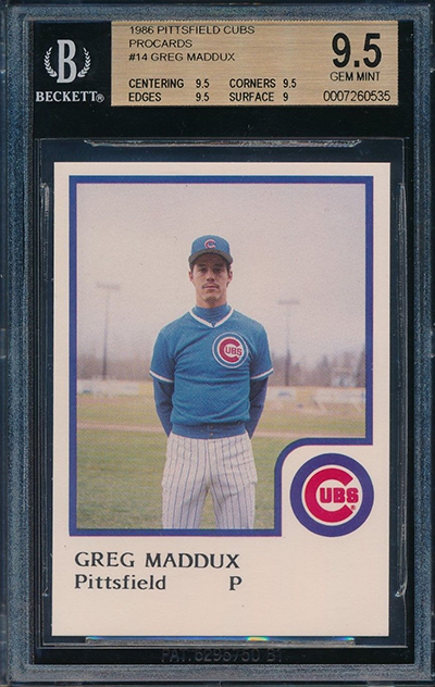 1986 Pittsfield Cubs ProCards Greg Maddux BGS 9-5