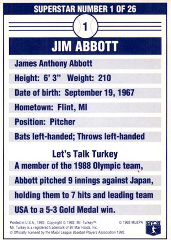 1992 Mr Turkey Superstars 1 Jim Abbott Reverse