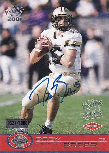 2001 Pacific Drew Brees Rookie Card Autograph