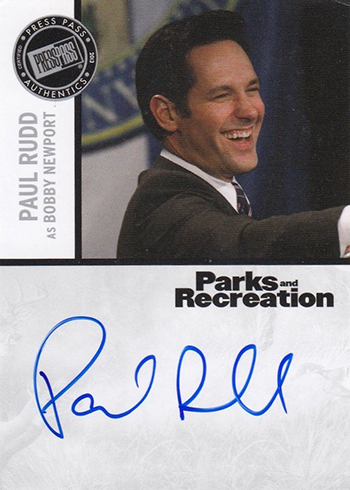 2013 Press Pass Parks and Recreation Paul Rudd Autograph B