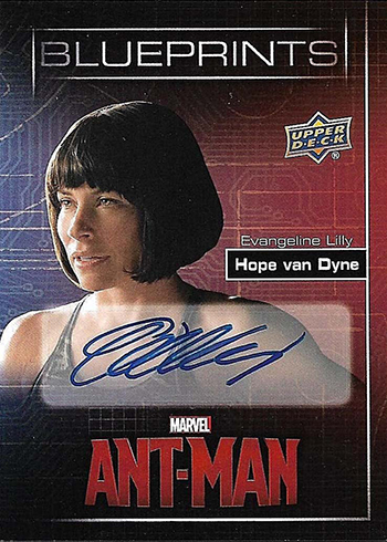 2015 Upper Deck Ant-Man Blueprints Autographs Evangeline Lilly