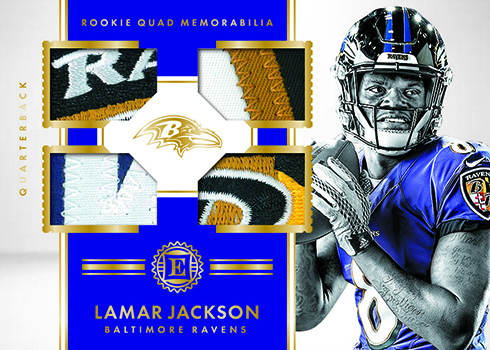 2018 Panini Encased Football Rookie Quad Memorabilia