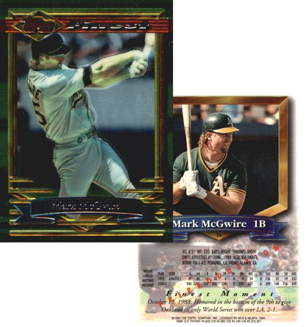 1994 Topps Finest Protector Samples Checklist Baseball Card Details