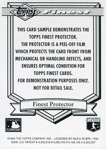 1994 Topps Finest Protector Sample John Jaha Reverse