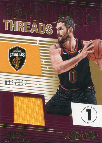 2018-19 Panini Absolute Basketball Established Threads Kevin Love