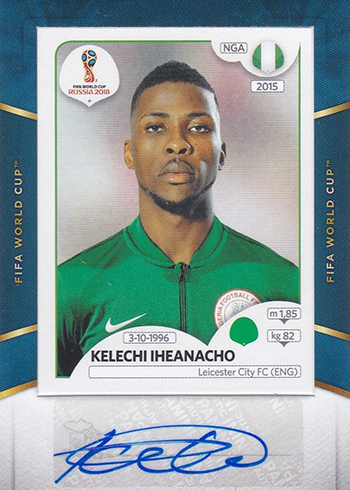 2018-19 Panini Treble Soccer World Cup Sticker Autographs Kelechi Iheanacho