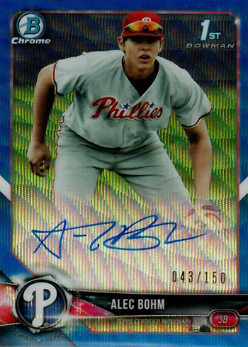 2018 Bowman Chrome Draft Autographs Alec Bohm Blue Wave Refractor