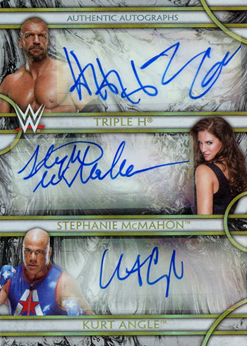 2018 Topps Legends of WWE Triple Autograph Triple H Stephanie McMahon Kurt Angle