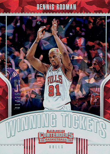 2018-19 Panini Contenders Basketball Winning Tickets Dennis Rodman Michael Jordan Cracked Ice