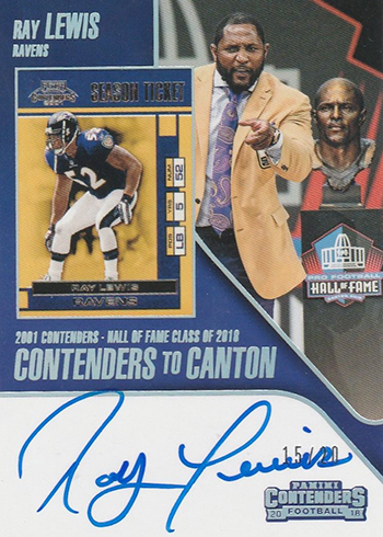 2018 Panini Contenders Football Contenders to Canton Autographs Ray Lewis