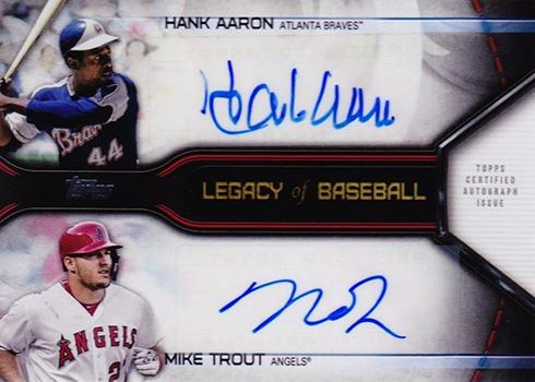 2019 Topps Series 1 Baseball Legacy of Baseball Dual Autograph Mike Trout Hank Aaron