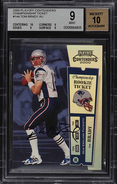 2000 Playoff Contenders Championship Ticket Tom Brady BGS 9