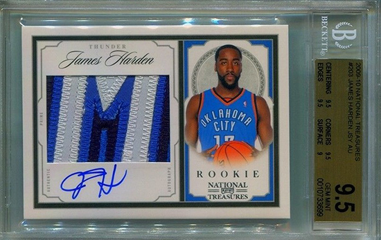 2009-10 Playoff National Treasures James Harden Rookie Card BGS 9.5