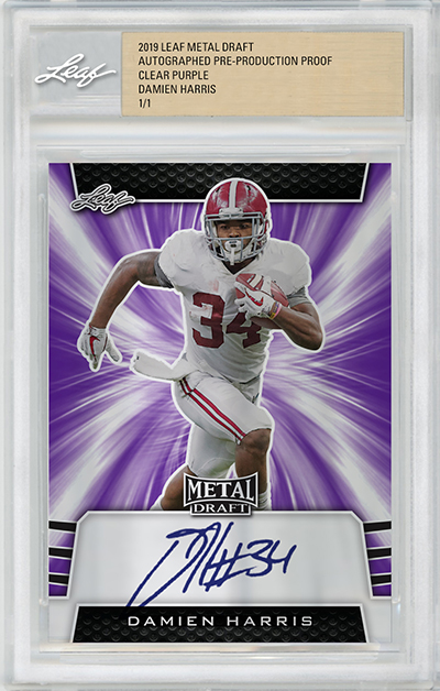 2019 Leaf Metal Draft Football Clear Proof Purple