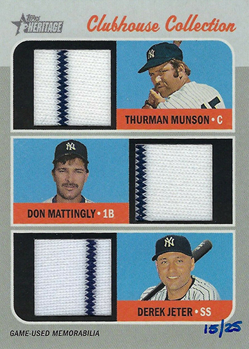 2019 Topps Heritage Baseball Clubhouse Collection Triple Relic Thurman Munson Don Mattingly Derek Jeter