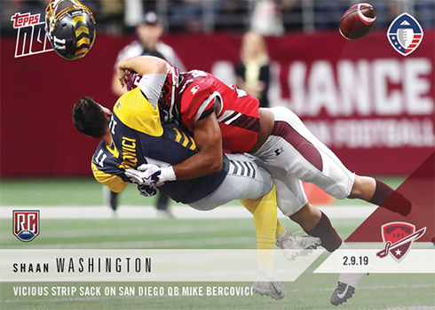 2019 Topps Now AAF 4 Shaan Washington